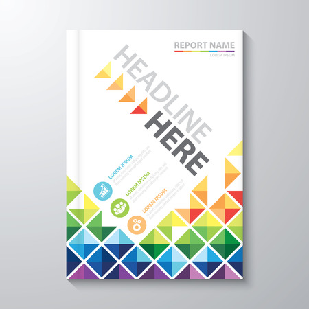 business book: Abstract colorful low polygon background. Cover design template layout in A4 size for annual report, brochure, flyer, Vector illustration