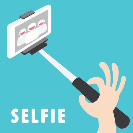 stick: Taking a self portrait with monopod Tool For Smartphone Vector Illustration. Cartoon vector illustration. Flat design. Selfie concept