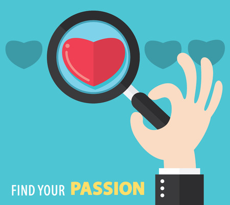 seeking: Find your passion concept. Vector illustration. Flat And Minimal Design. Can be use for cover design, brochure, flyer, poster, banner