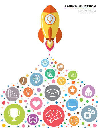 Launch rocket with education icon. Creative concept, Vector illustration. flat design. can be use for book cover, poster, flyer, brochure, banner