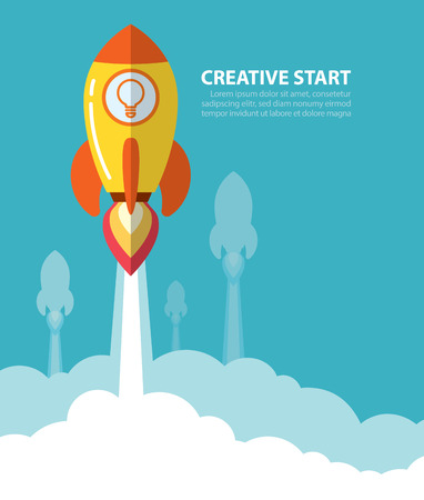 Rocket launch with space. Creative start up concept. Flat style. Vector illustration. Can be used for cover design poster, banner, flyer, presentation, web page, booklet