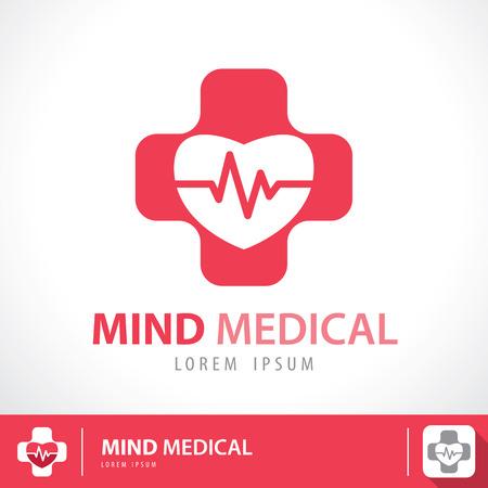 Medische apotheek logo symbool pictogram ontwerp. Mind medische concept. Vector illustratie Stock Illustratie