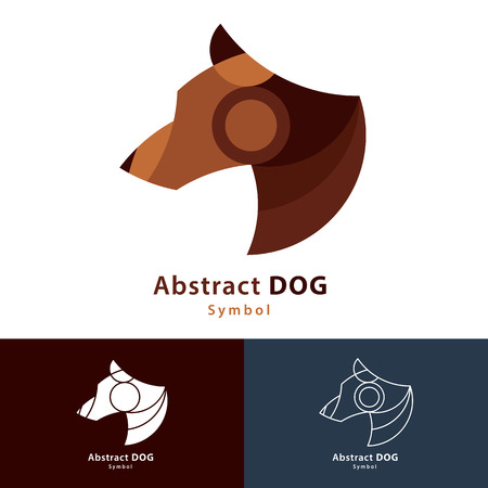 dog kennel: Abstract dog symbol icon design. Logo with business card template. Vector illustration color and line style