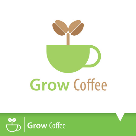 seedling: Symbol of coffee plant tree growing seedling in cup isolated on white background. Icon design. Logo template. Vector illustration