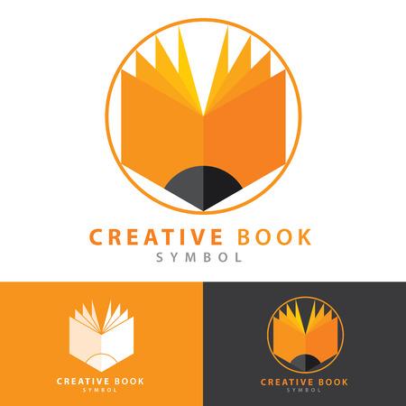 libros abiertos: Diseño creativo libro icono símbolo. Logotipo con plantilla de tarjeta de visita. Concepto de aprendizaje creativo. Ilustración vectorial