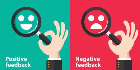 evaluacion: Positivo y Negativo retroalimentación concepto de fondo. Ilustración del vector. Diseño minimalista y plano
