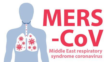coronavirus: MERSCoVMiddle East respiratory syndrome coronavirus. Vector illustration Illustration