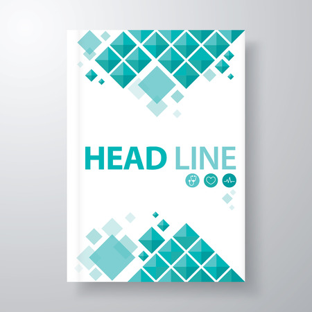 Abstract blue triangle background. Cover design template layout in A4 size for annual report, brochure, flyer, vector illustration 스톡 콘텐츠