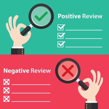 Mano de negocios con bien y el mal en el fondo de cristal de aumento. Ilustración del vector del concepto de crítica positiva y negativa. Diseño minimalista y plano Foto de archivo - 41774789