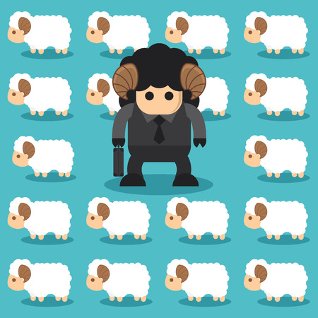 black sheep: Black sheep business different from the group of white sheep. Stand out from the crowd concept. Vector illustration. Flat design Stock Photo