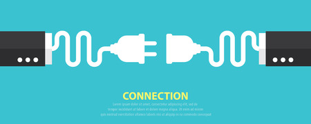 disconnect: Plug and socket business hand on blue background