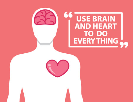 brain: Brain and heart in human shape and quotes