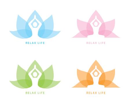 Human yoga shape in abstract lotus symbol 일러스트