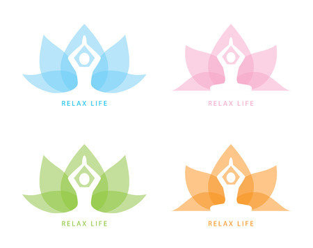 wellness: Human yoga shape in abstract lotus symbol Illustration