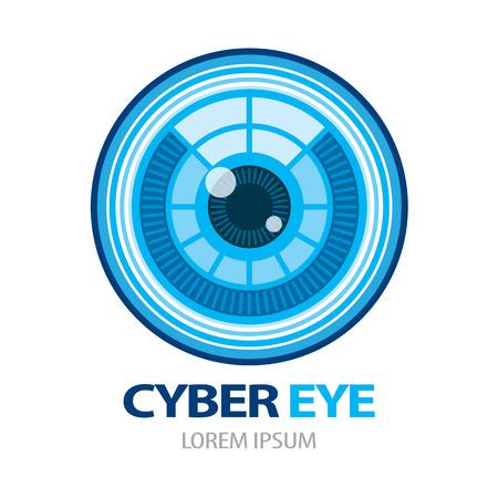 Cyber eye symbol icon. Vector illustration, Logo template design Vettoriali