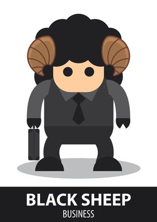 oveja negra: Negro ovejas de dibujos animados de negocios