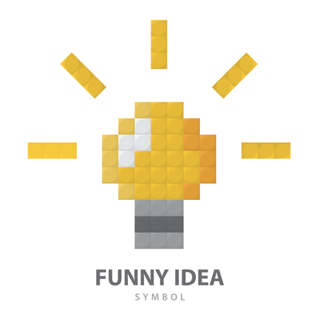 innovation concept: Light bulb toy symbol. Modern icon, logo template design isolated on white background. Vector illustration. Funny creative idea concept