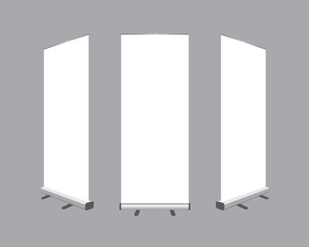灰色の背景に分離されたバナー表示テンプレートを空白のロールのセットです。ベクトルの図。デザインのモックアップ
