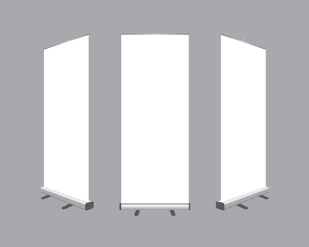 mockup: Set of Blank roll up  banners display template isolated on gray background. Vector illustration. Mockup for design