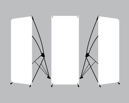 commercial event: Set of blank X-stand banners display template isolated on gray background. Vector illustration. Mockup for design