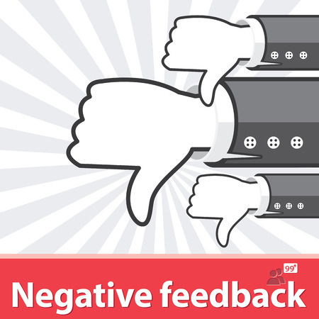 feedback: Red business hands thumb Down with people icon background. Negative feedback concept. Vector illustration. Flat and minimal design
