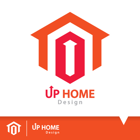 residential homes: Abstract up arrow on red hexagon shape with orange home icon symbol. House logo design template. Vector illustration. Real estate concept