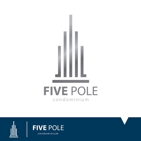 building real estate modern: Abstract five pole icon symbol. Condominium logo design template. Vector illustration. Real estate concept Illustration