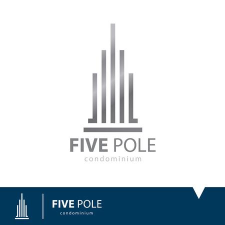 logo batiment: Résumé de cinq pôles icône symbole. Condominium modèle de conception de logo. Vector illustration. Real estate concept