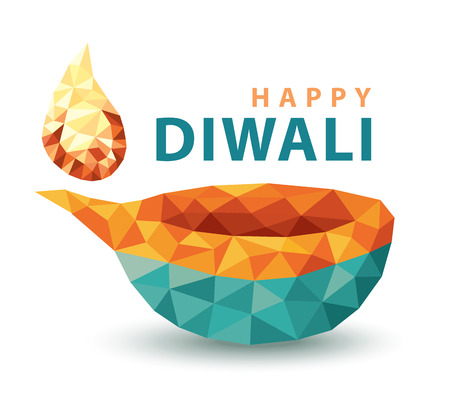 Traditional celebration of Hindu festival happy diwali lamp. low polygon colorful design isolated on white background. Vector illustration