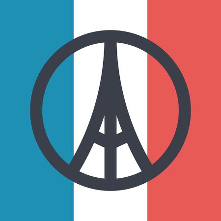 terrorists: Pray for Paris symbol on france flag background, Peace for Paris concept. Vector illustration Illustration