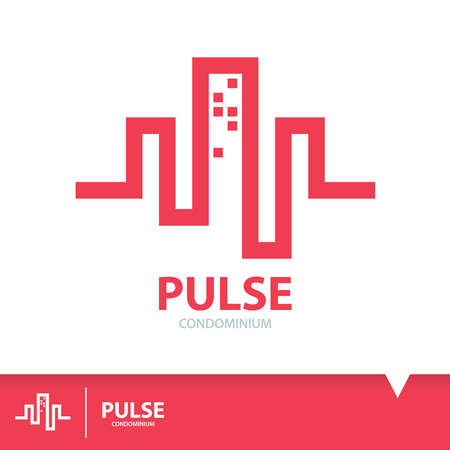 Abstract red pulse in condominium shape. Logo elements template design. Real estate symbols icon. Vector illustration, Construction concept Ilustração