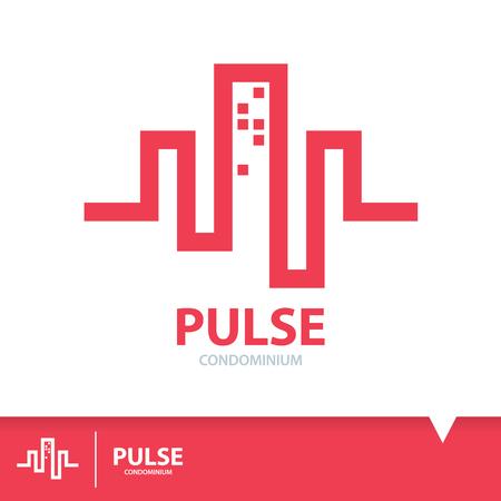 Pulso rojo abstracto en forma de condominio. Diseño de plantilla de elementos de logotipo. Icono de símbolos inmobiliarios. Ilustración vectorial, concepto de construcción