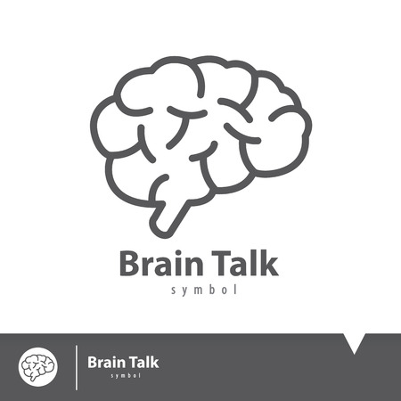 Brain talk icon symbol. Logo elements template design. Vector illustration, Connection concept Ilustracja