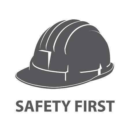 Safety hard hat icon symbol isolated on white background. Vector illustration Çizim