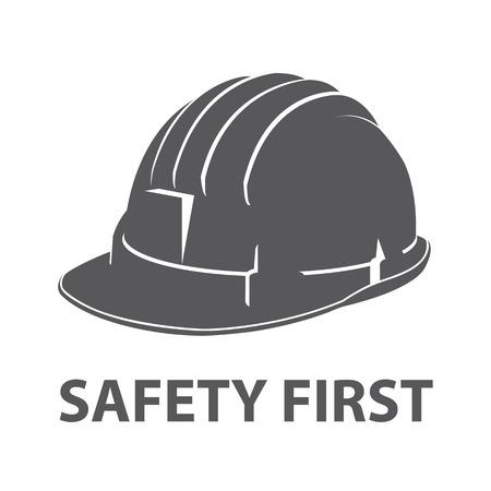 kapelusze: Bezpieczeństwo kask ikonę symbolu samodzielnie na białym tle. ilustracji wektorowych