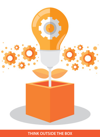 Light bulb with gear outside the box. Vector illustration. Think outside the box and Idea growth concept. Can be used for layout, web design, brochure, leaflet, banner