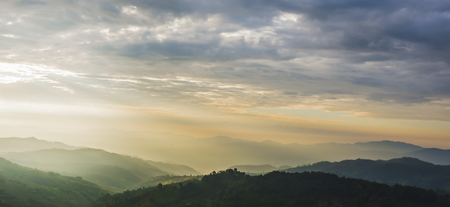 mist: Sunrise time in the mountains landscape with cloud Stock Photo
