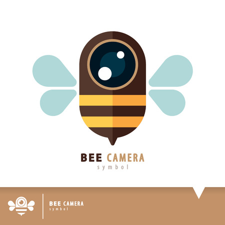 insect flies: Bee camera symbol icon. Vector illustration