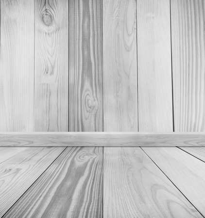 lumber room: Empty white wood room texture background Stock Photo