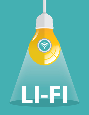 transmit: Light bulb combined with wifi. Vector illustration. Li-Fi, technology, internet and networking concept