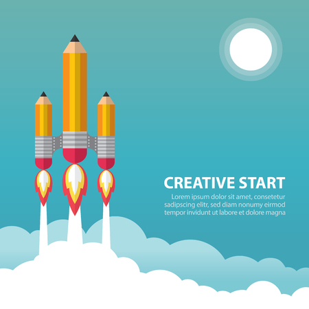 pencil cartoon: Art launch pencil rocket with sky space and sun. Creative startup concept. Vector illustration. Flat design Illustration