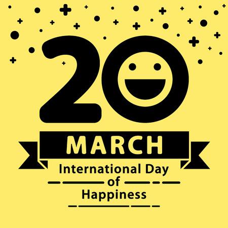alegria: Día Internacional del fondo de la felicidad. diseño minimalista y plana.