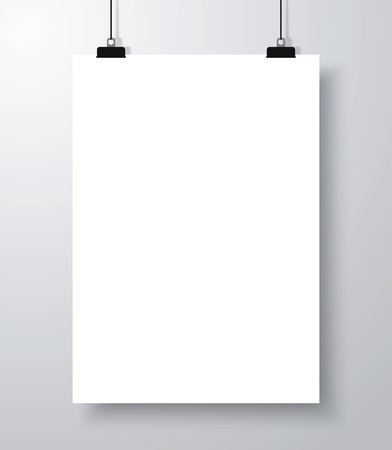 Blank empty poster mockup template with shadow. Ilustracja