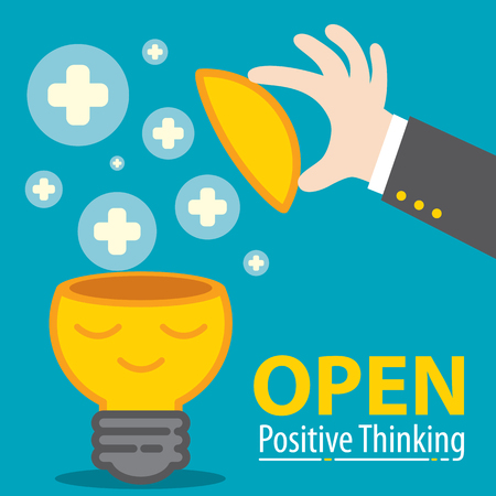 Business hand open meditation of Light bulb with plus symbol flying. Open positive thinking in business concept. Cartoon flat and line design. Vetores