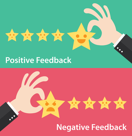 Business hand give five star of positive and negative feedback.