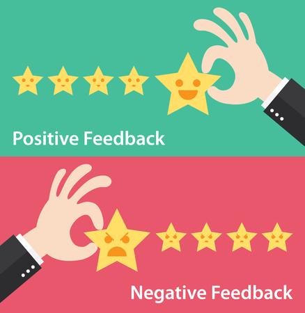 servicio al cliente: La mano de negocios dan cinco estrellas de retroalimentación positiva y negativa. Vectores
