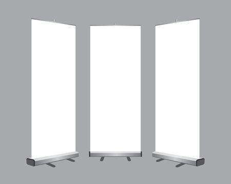 Set di roll up vuota visualizzare banner isolato su sfondo grigio. Vettoriali