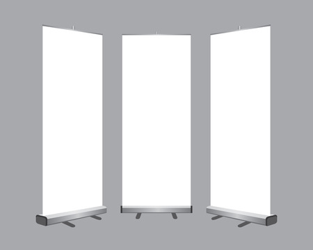 sign up: Set of Blank roll up banners display template isolated on gray background.