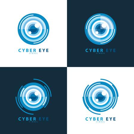 Set of cyber eye symbol icon. illustration, template design