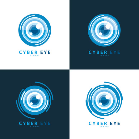 scanned: Set of cyber eye symbol icon. illustration, template design